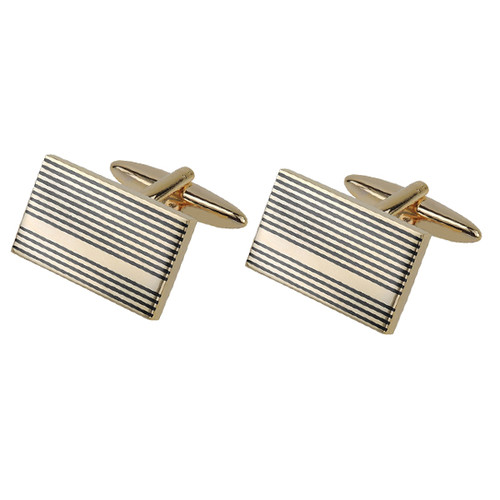 Manchetknapper - Gold Gunmetal Stripes (1)